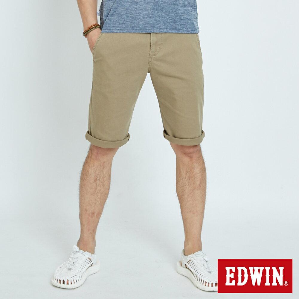 EDWIN KAKHI 基本休閒斜袋 五分色短褲-男款 卡其色 SHORTS 0