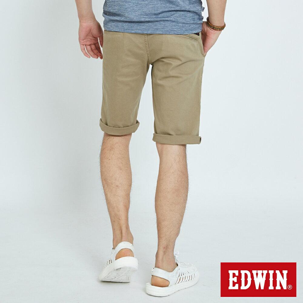 EDWIN KAKHI 基本休閒斜袋 五分色短褲-男款 卡其色 SHORTS 1