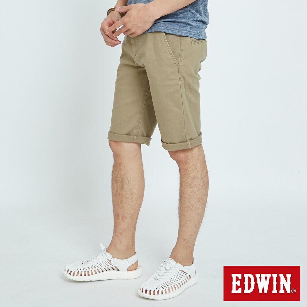 EDWIN KAKHI 基本休閒斜袋 五分色短褲-男款 卡其色 SHORTS 2