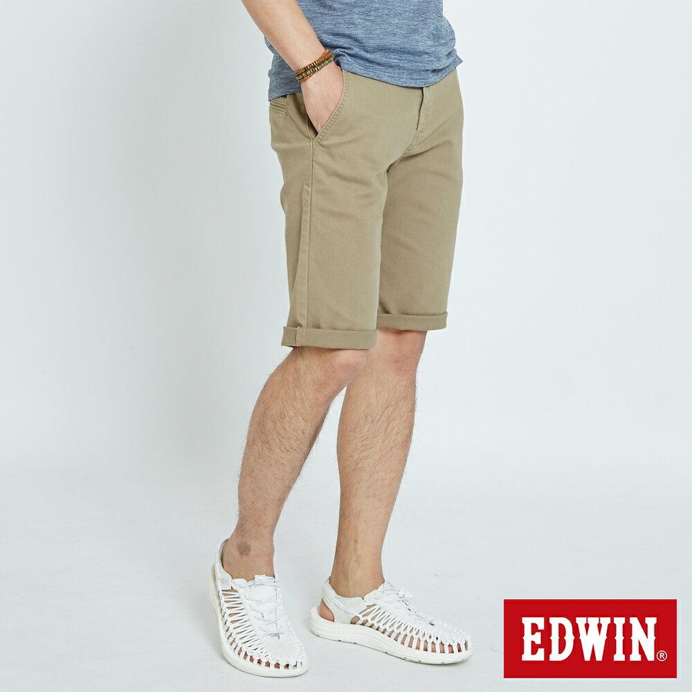 EDWIN KAKHI 基本休閒斜袋 五分色短褲-男款 卡其色 SHORTS 3