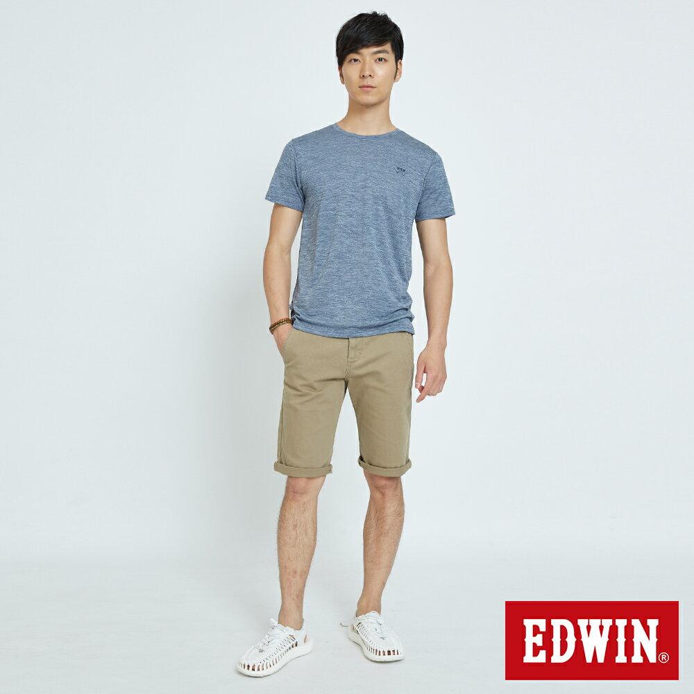 EDWIN KAKHI 基本休閒斜袋 五分色短褲-男款 卡其色 SHORTS 4
