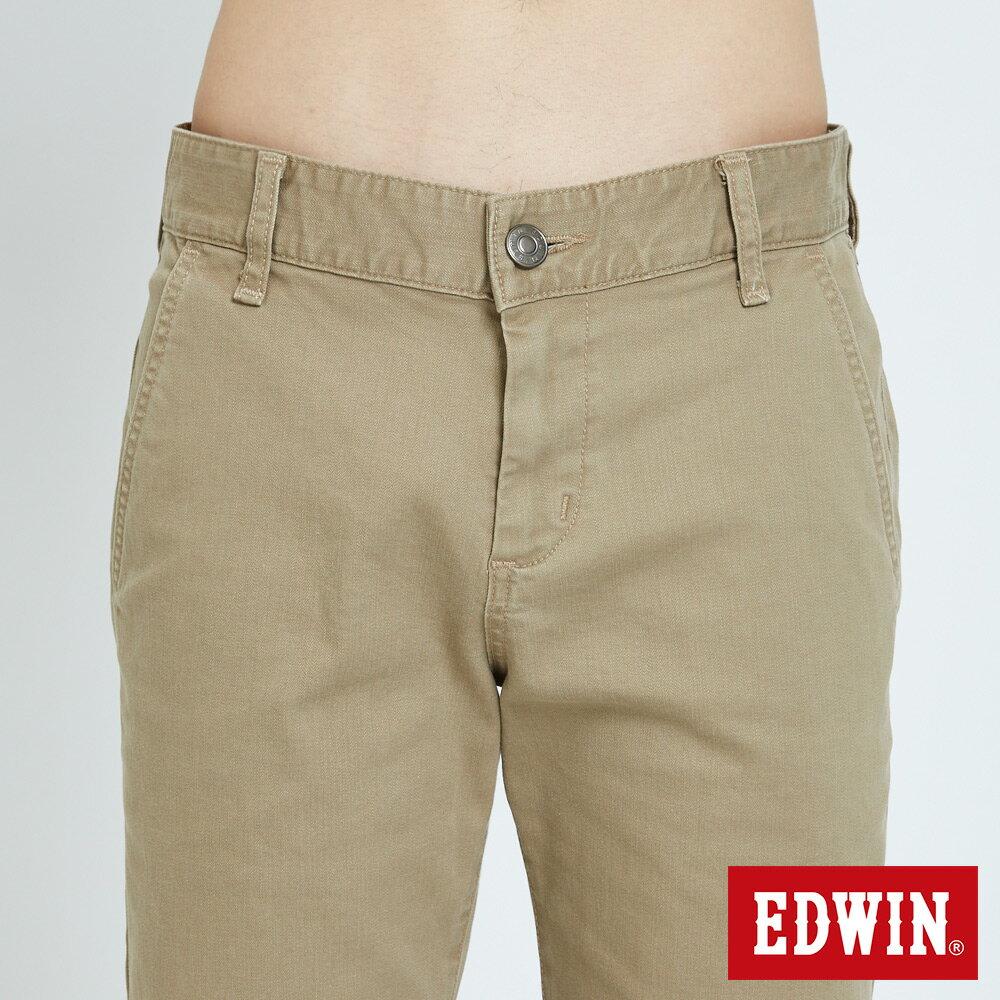 EDWIN KAKHI 基本休閒斜袋 五分色短褲-男款 卡其色 SHORTS 5