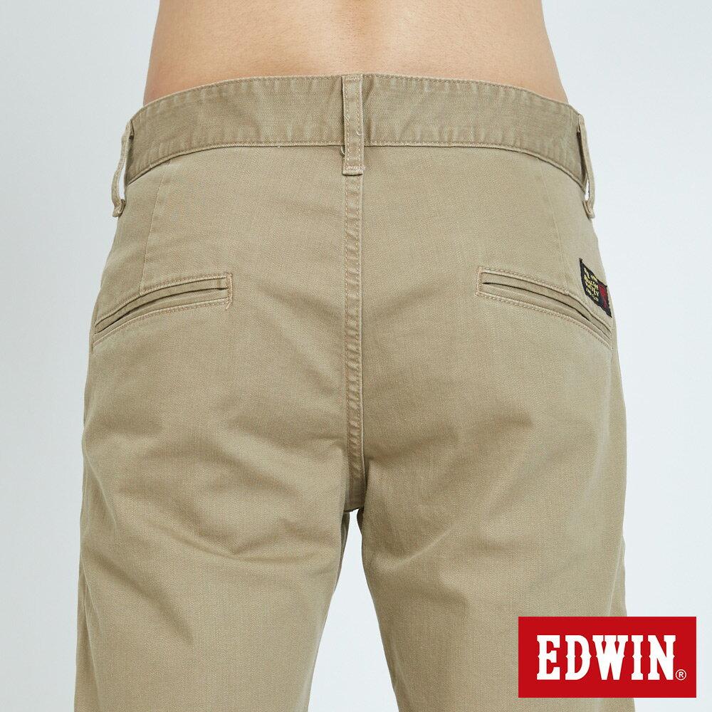 EDWIN KAKHI 基本休閒斜袋 五分色短褲-男款 卡其色 SHORTS 6
