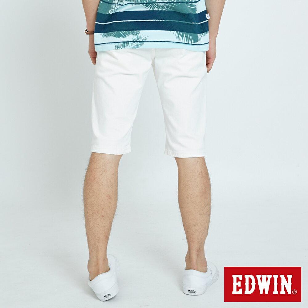 EDWIN KAKHI 基本休閒斜袋 五分色短褲-男款 白色 SHORTS 1