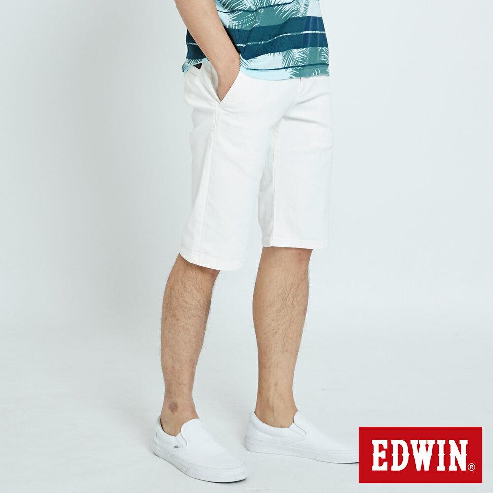 EDWIN KAKHI 基本休閒斜袋 五分色短褲-男款 白色 SHORTS 2