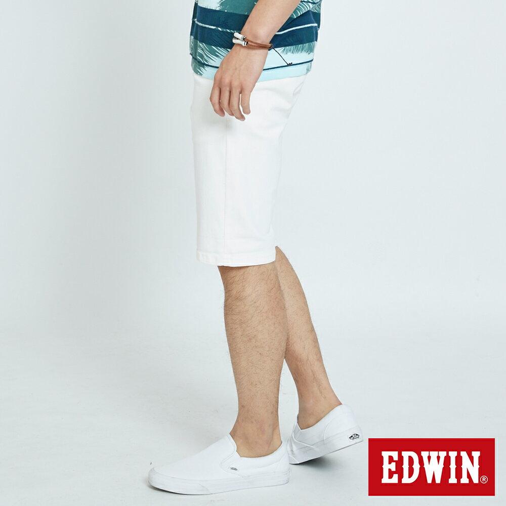 EDWIN KAKHI 基本休閒斜袋 五分色短褲-男款 白色 SHORTS 3