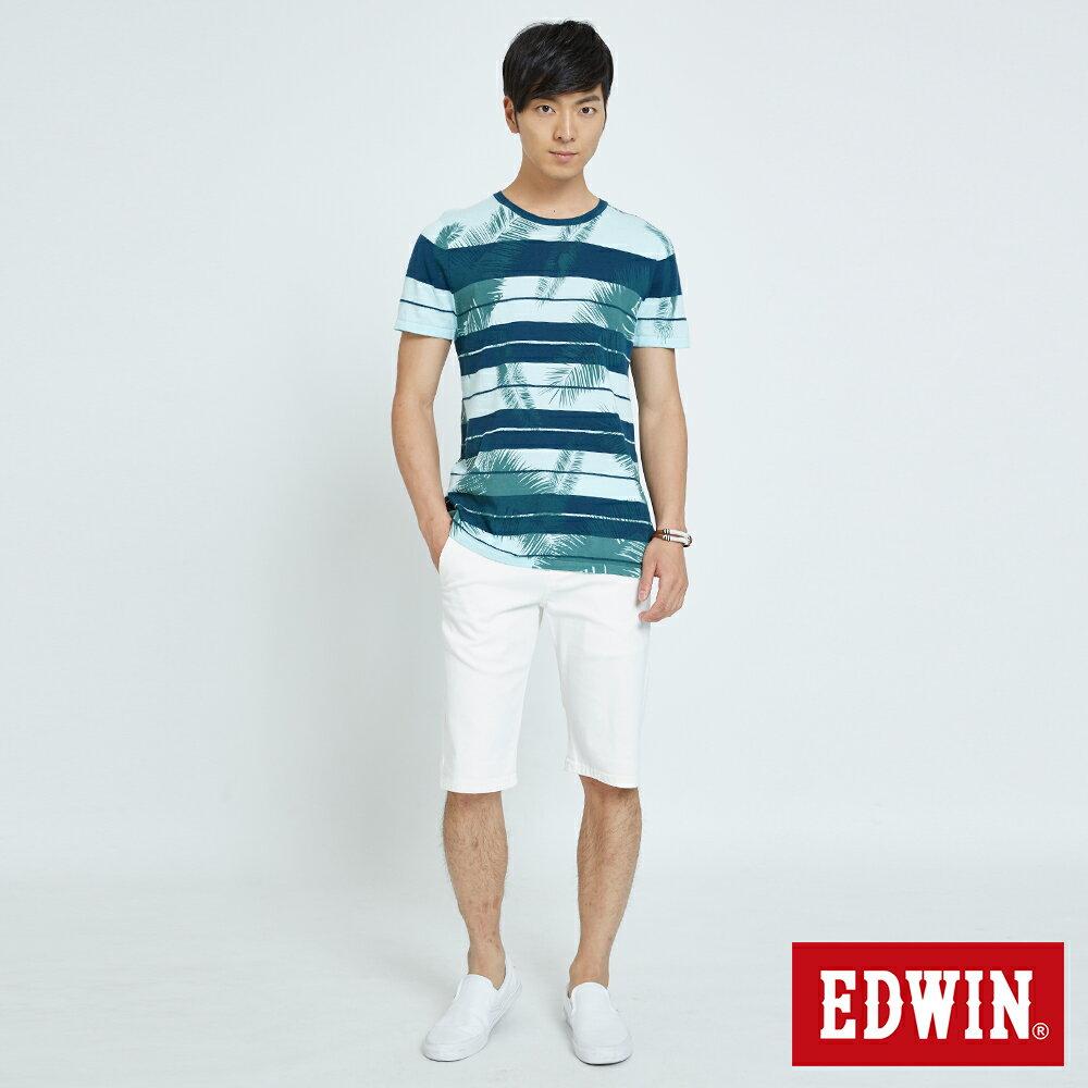 EDWIN KAKHI 基本休閒斜袋 五分色短褲-男款 白色 SHORTS 4