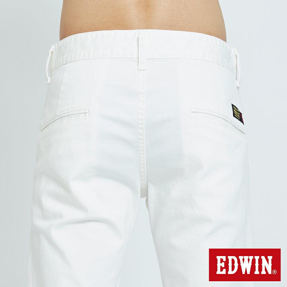 EDWIN KAKHI 基本休閒斜袋 五分色短褲-男款 白色 SHORTS 6