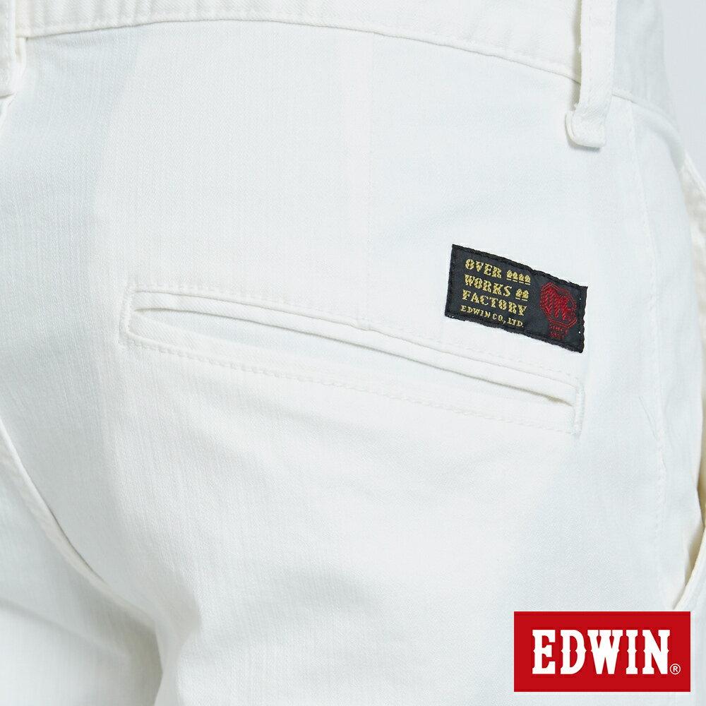 EDWIN KAKHI 基本休閒斜袋 五分色短褲-男款 白色 SHORTS 7