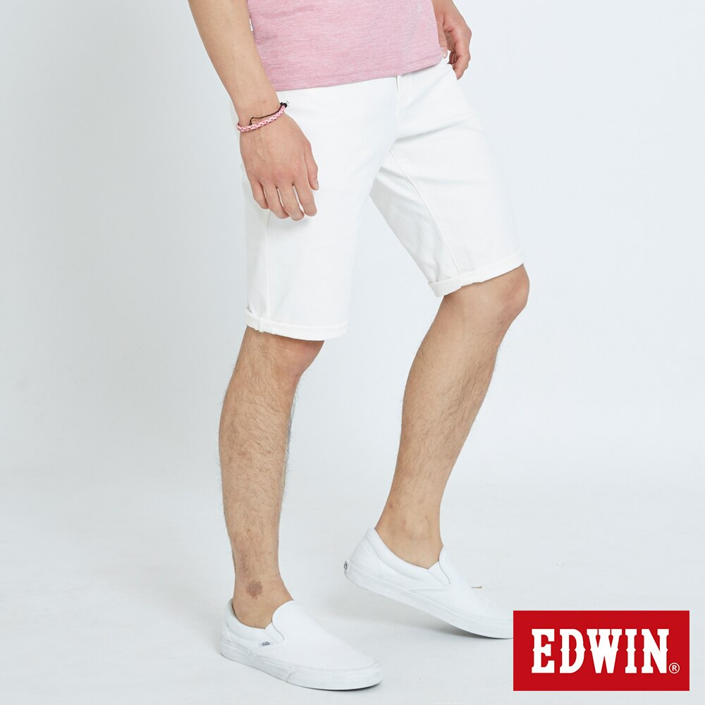 EDWIN 503 KAKHI 基本五袋式 五分色短褲-男款 白色 SHORTS 2
