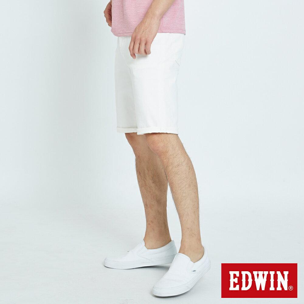 EDWIN 503 KAKHI 基本五袋式 五分色短褲-男款 白色 SHORTS 3