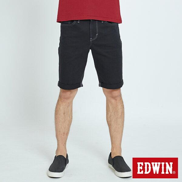 【生日慶加碼|正品夏褲9折↘】EDWIN503KAKHI基本五袋式五分色短褲-男款黑色【525-531限定】【單筆滿5030元送限量生日T】【5月會員消費滿3000元再賺15%點數】