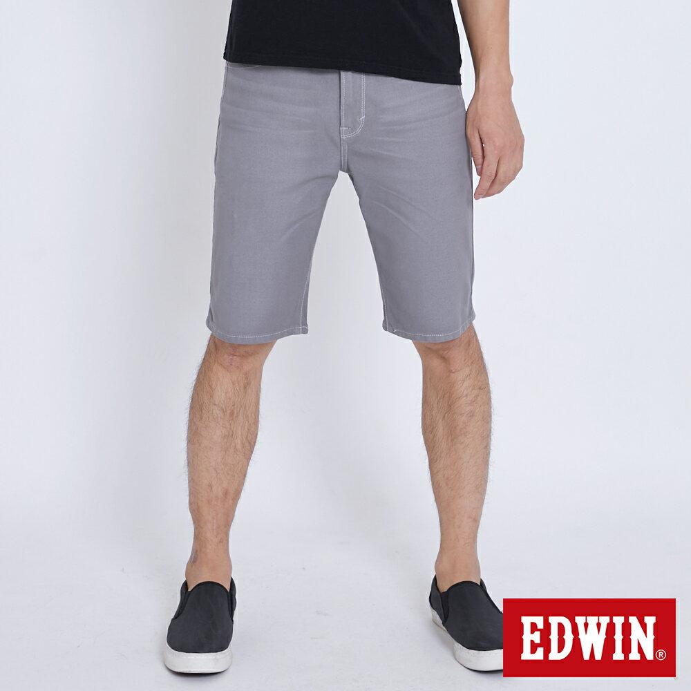 【新品上市↘】EDWIN JERSEYS迦績涼感 五分色短褲-男款 淺灰色