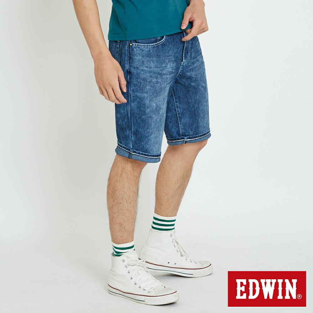 新品↘EDWIN JERSEYS迦績雪花洗 五分牛仔褲-男款 石洗綠 SHORTS 3