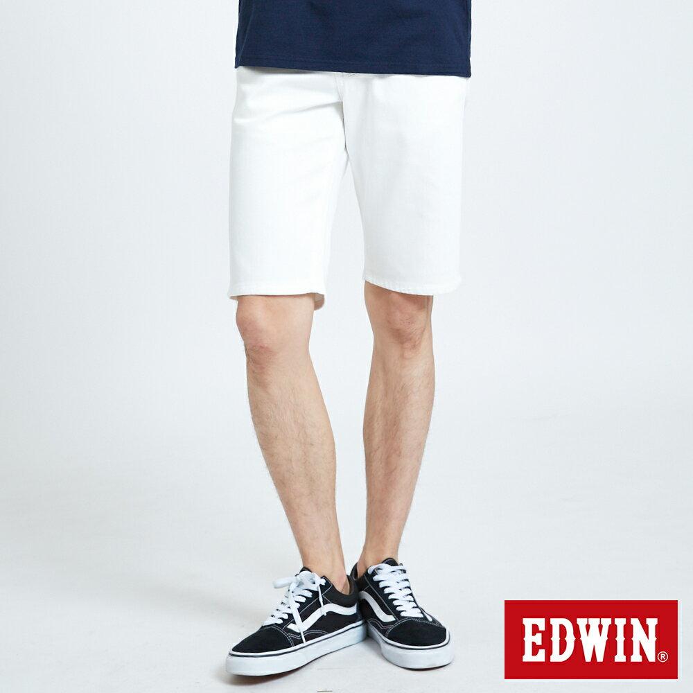 新品↘EDWIN EDGE LINE 503 酷涼經典 休閒五分褲 (紅色袋花) -男款 白色 SHORTS 0