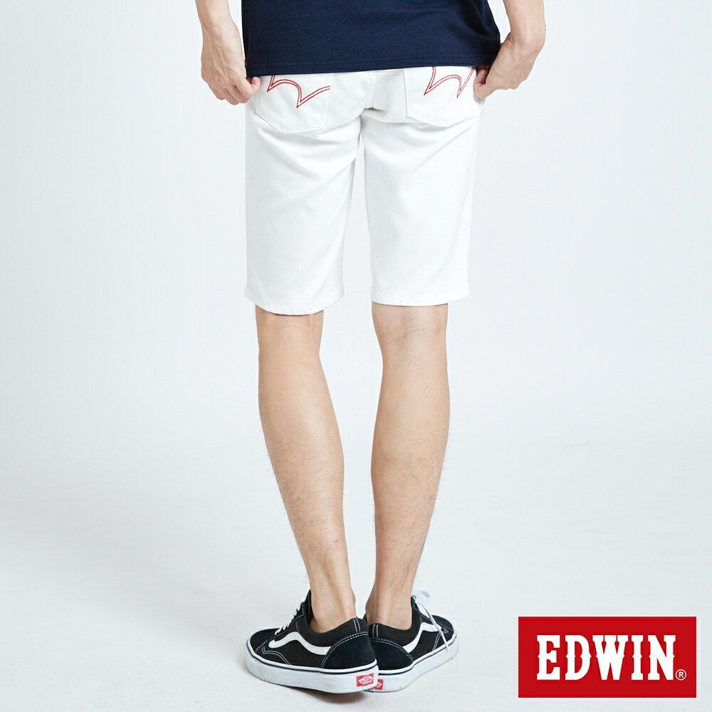 新品↘EDWIN EDGE LINE 503 酷涼經典 休閒五分褲 (紅色袋花) -男款 白色 SHORTS 2