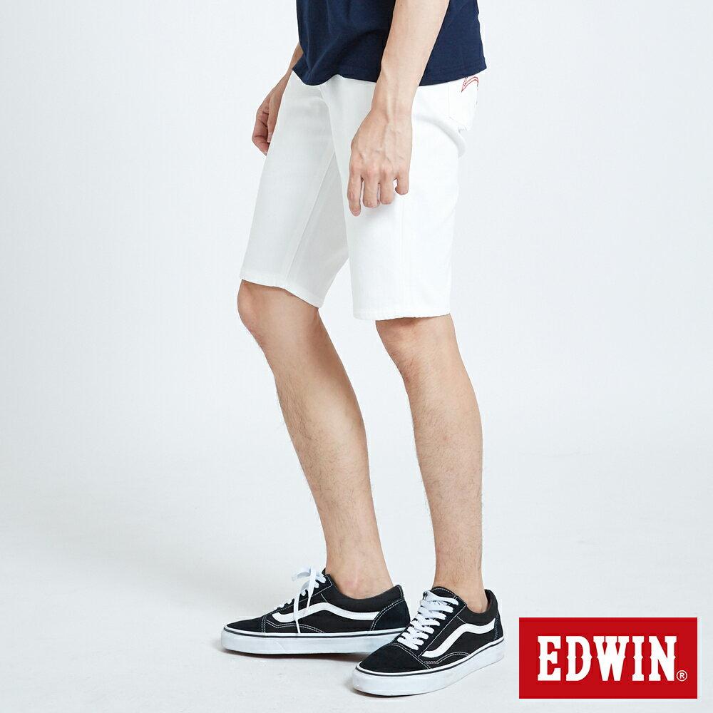 新品↘EDWIN EDGE LINE 503 酷涼經典 休閒五分褲 (紅色袋花) -男款 白色 SHORTS 3