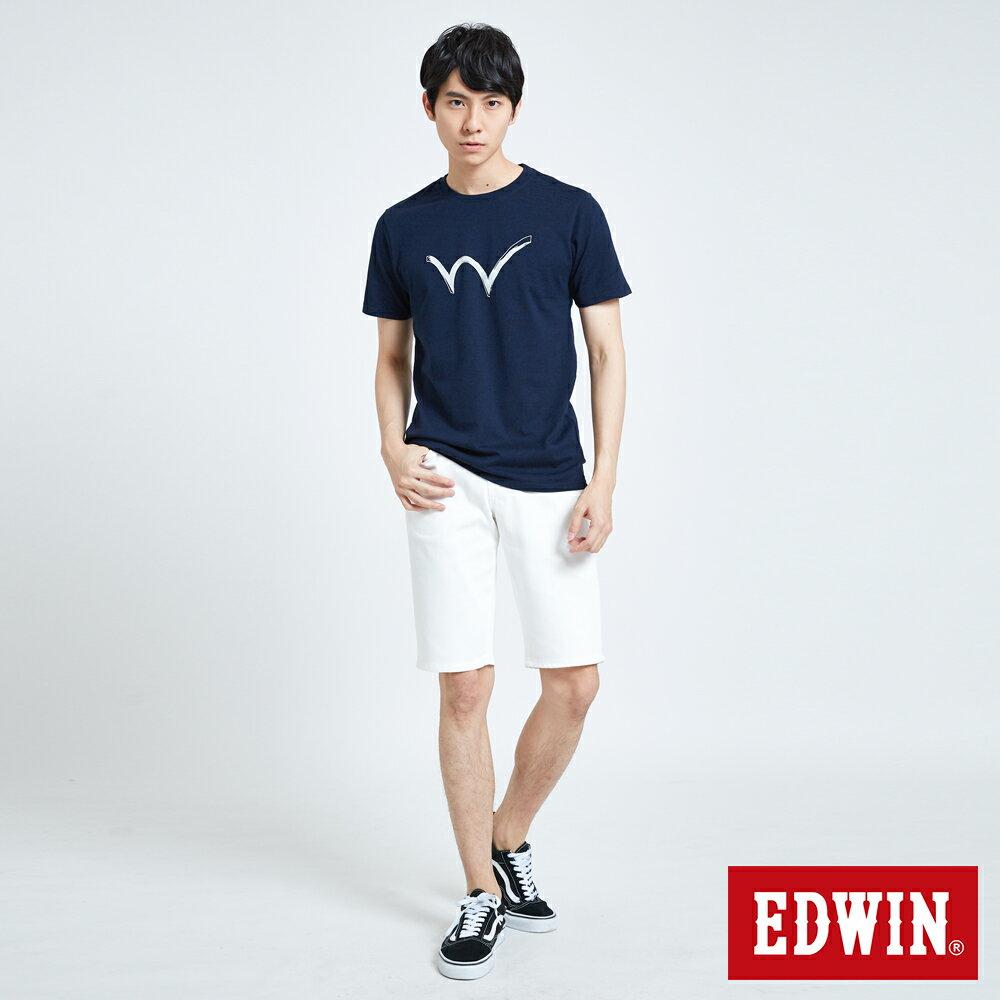 新品↘EDWIN EDGE LINE 503 酷涼經典 休閒五分褲 (紅色袋花) -男款 白色 SHORTS 5