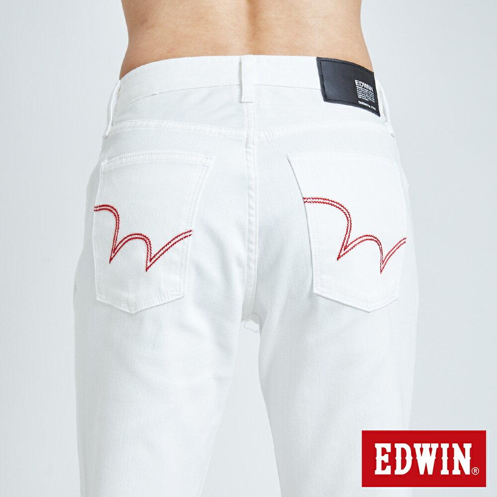 新品↘EDWIN EDGE LINE 503 酷涼經典 休閒五分褲 (紅色袋花) -男款 白色 SHORTS 7