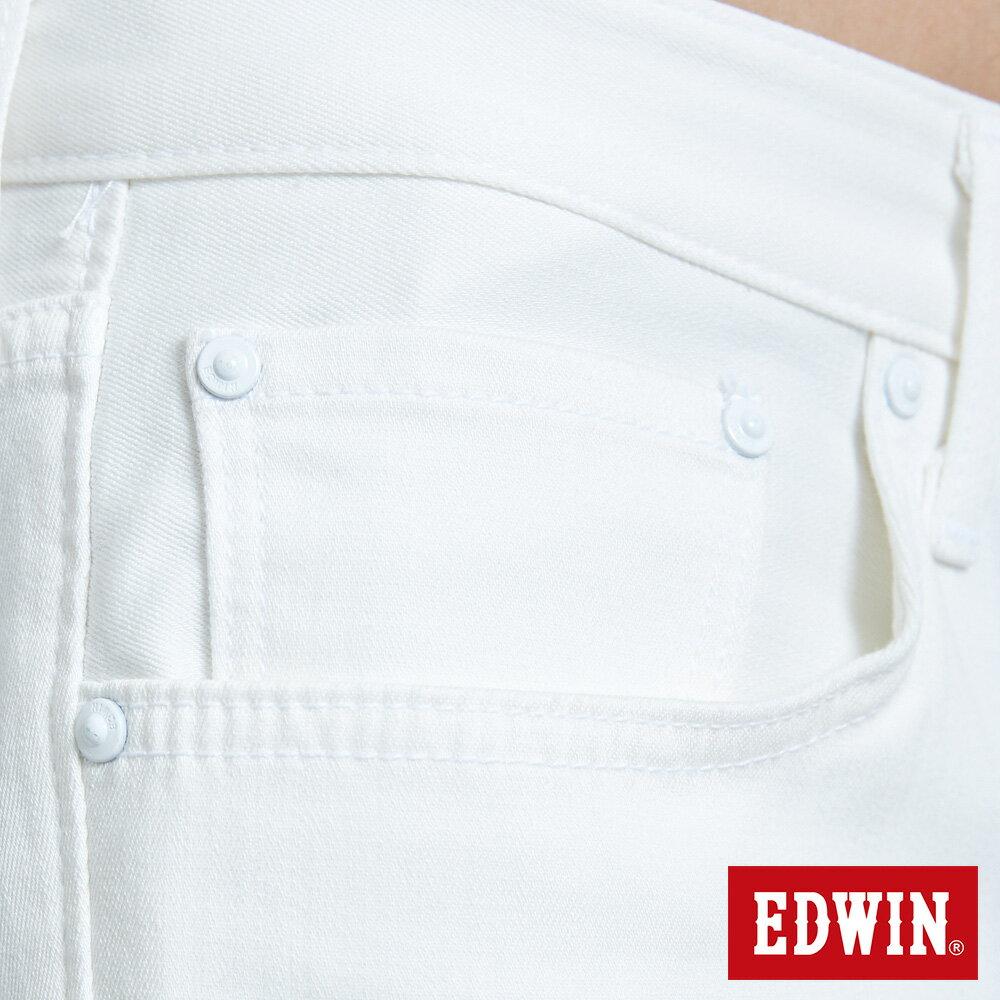 新品↘EDWIN EDGE LINE 503 酷涼經典 休閒五分褲 (紅色袋花) -男款 白色 SHORTS 8