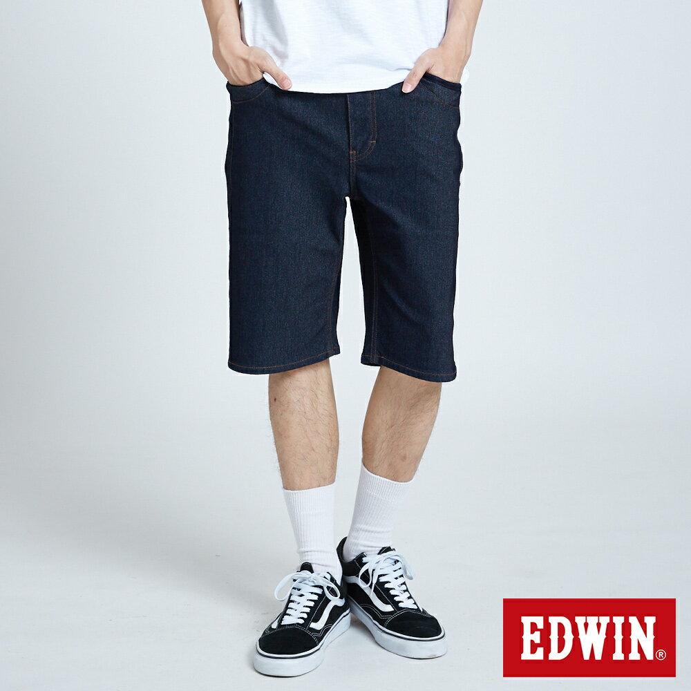 【APP領券9折】EDWIN JERSEYS 迦績 PK EJ3涼感低腰寬鬆 牛仔短褲-男款 原藍色 SHORTS
