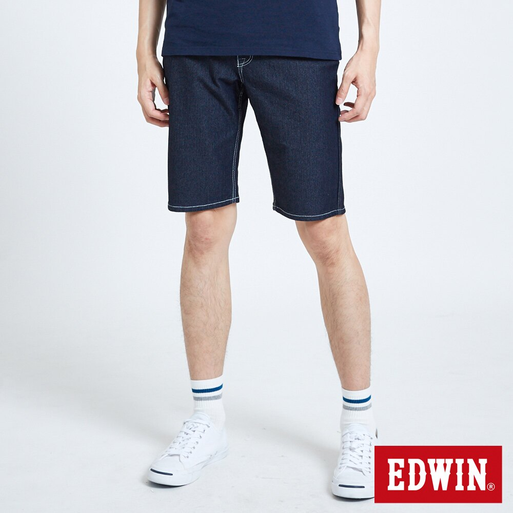 【APP領券9折】EDWIN JERSEYS 迦績 PK EJ2 涼感低腰合身 牛仔短褲-男款 原藍色 SHORTS