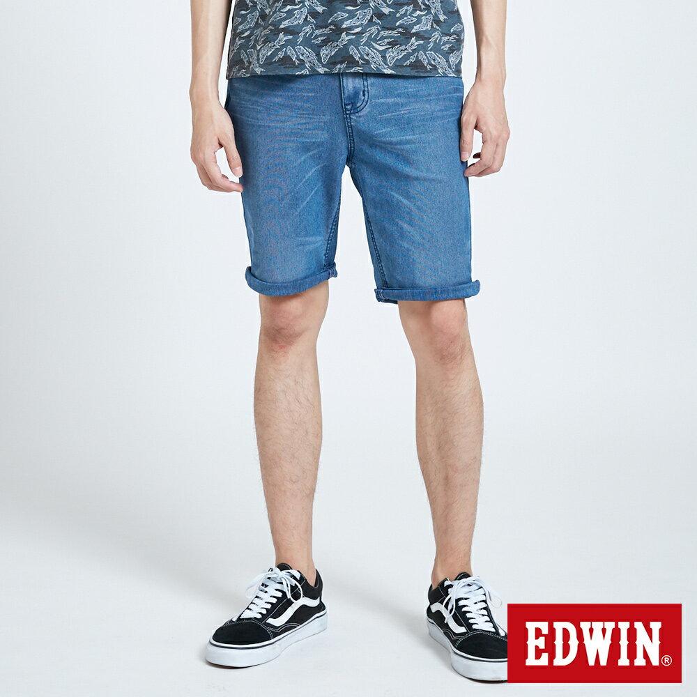新品↘EDWIN JERSEYS 迦績 PK EJ2透氣中腰合身 牛仔短褲-男款 拔洗藍 SHORTS 0