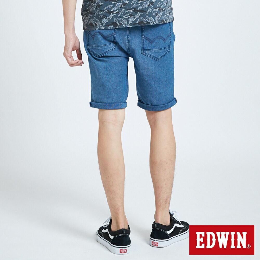 新品↘EDWIN JERSEYS 迦績 PK EJ2透氣中腰合身 牛仔短褲-男款 拔洗藍 SHORTS 1