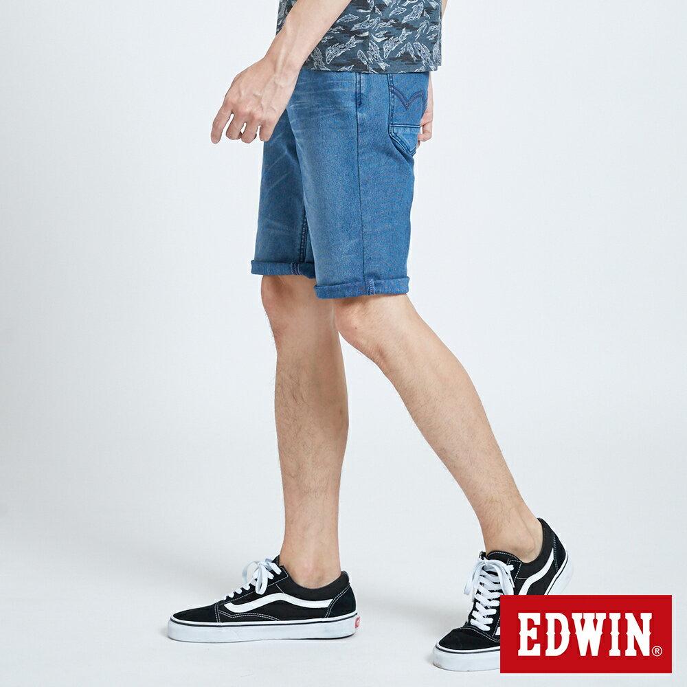 新品↘EDWIN JERSEYS 迦績 PK EJ2透氣中腰合身 牛仔短褲-男款 拔洗藍 SHORTS 2