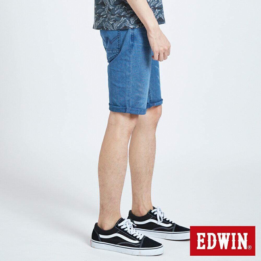 新品↘EDWIN JERSEYS 迦績 PK EJ2透氣中腰合身 牛仔短褲-男款 拔洗藍 SHORTS 3
