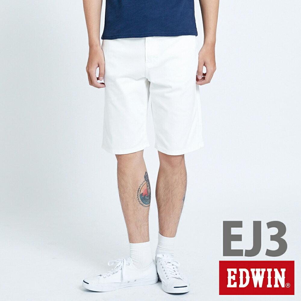 新品↘EDWIN JERSEYS迦績 EJ3 涼感 復古棉 休閒短褲-男款 白色 SHORTS 0