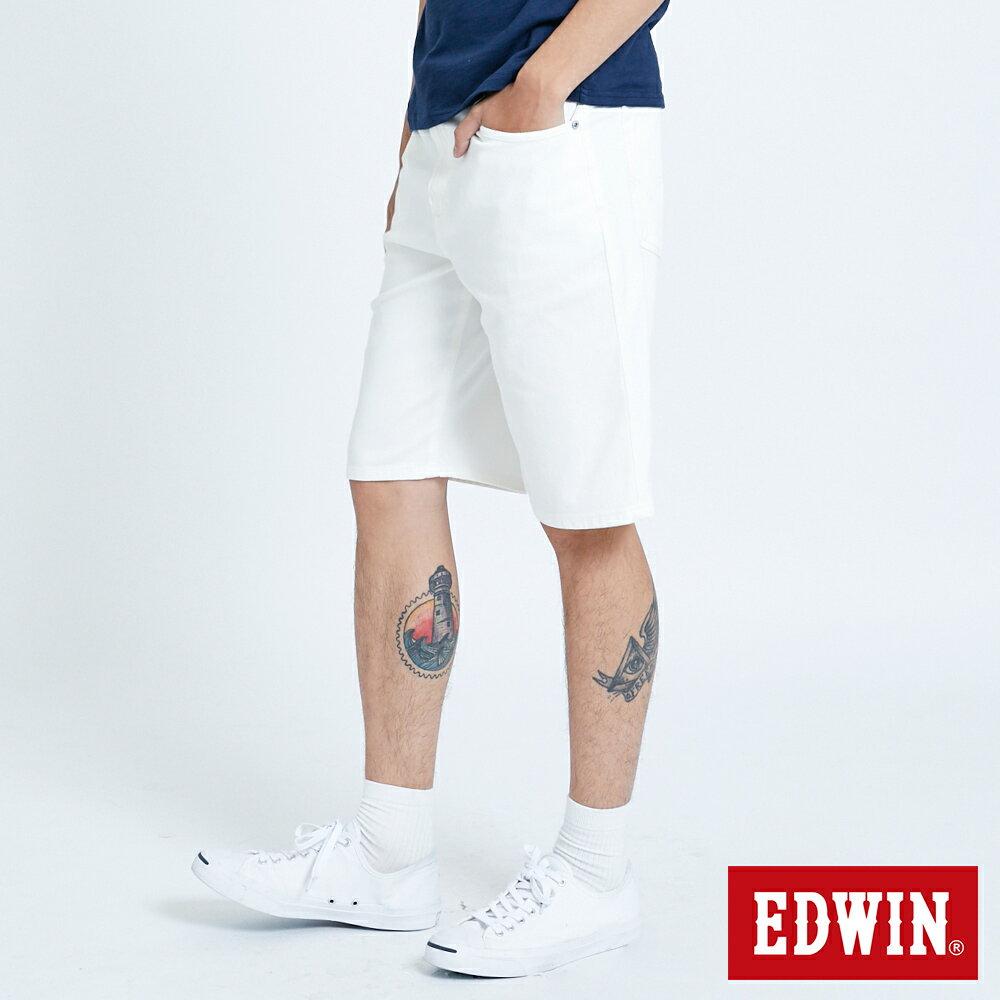 新品↘EDWIN JERSEYS迦績 EJ3 涼感 復古棉 休閒短褲-男款 白色 SHORTS 3