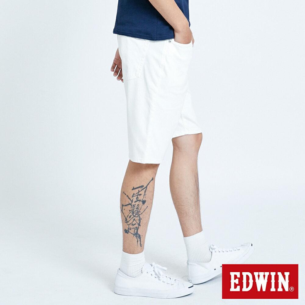 新品↘EDWIN JERSEYS迦績 EJ3 涼感 復古棉 休閒短褲-男款 白色 SHORTS 4