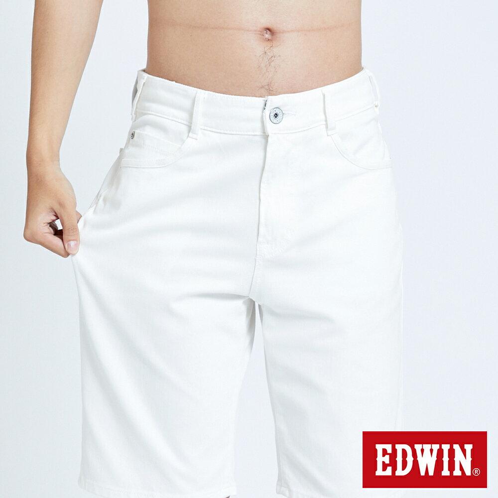 新品↘EDWIN JERSEYS迦績 EJ3 涼感 復古棉 休閒短褲-男款 白色 SHORTS 6