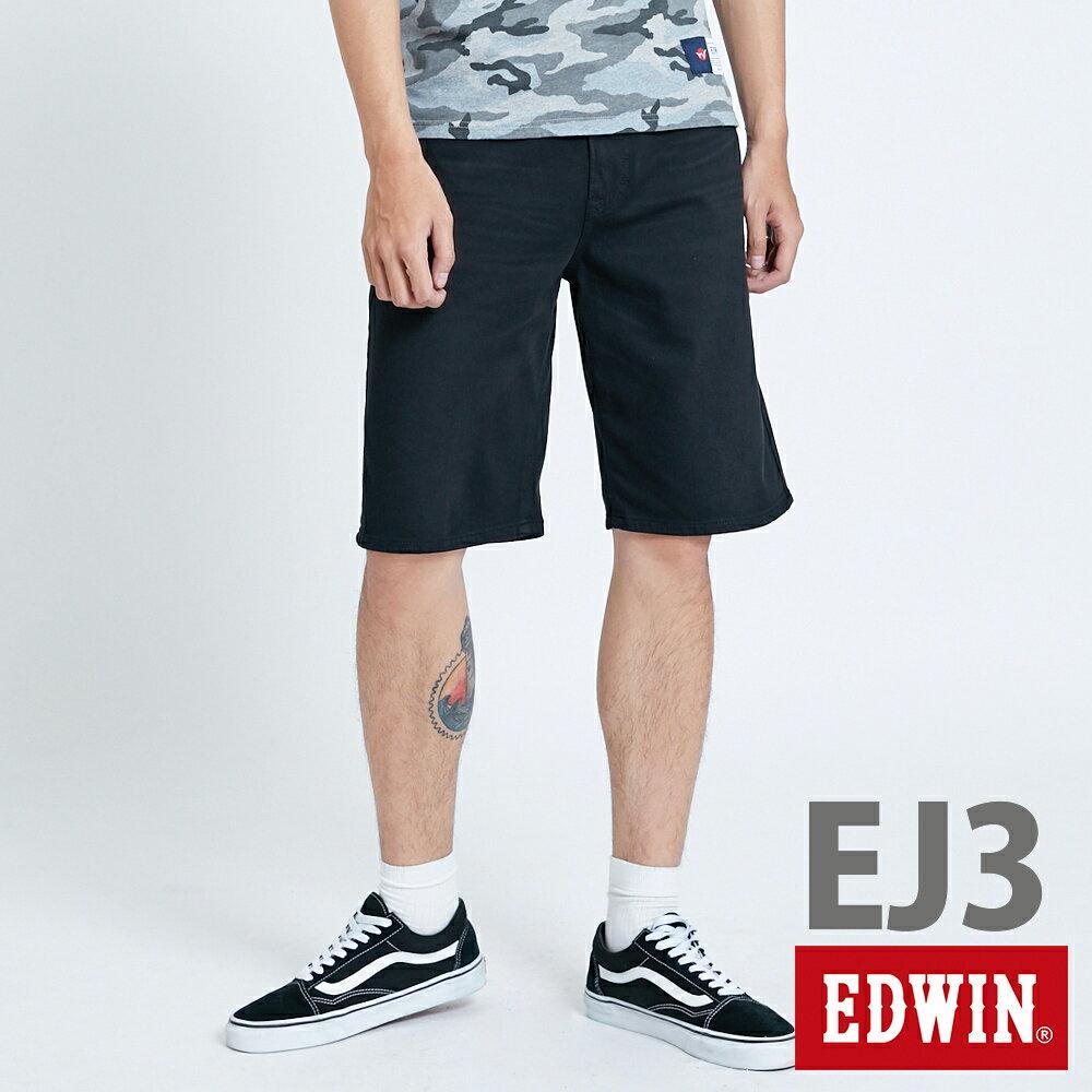 新品↘EDWIN JERSEYS迦績 EJ3 涼感 復古棉 休閒短褲-男款 黑色 SHORTS 0