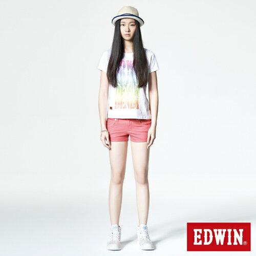 【1290元優惠↘】EDWIN JERSEYS迦績彩色超短褲-女-玫瑰粉 5