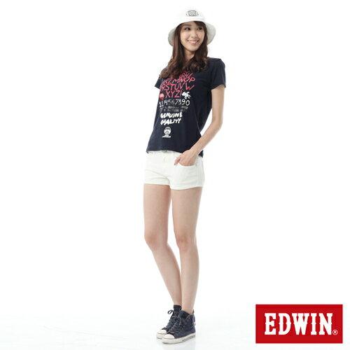 【1290元優惠↘】EDWIN JERSEYS迦績彩色超短褲-女-白色 2