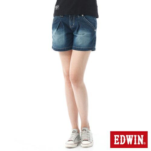 【790元優惠↘】Miss EDWIN 503立體打折牛仔短褲-女款 原藍磨