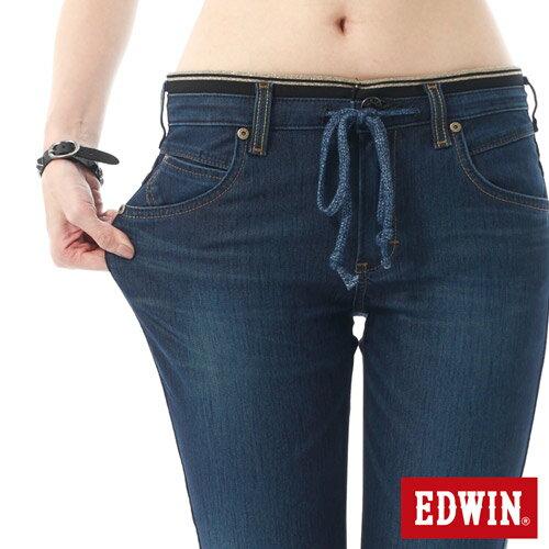 【5折優惠↘】EDWIN JERSEYS 迦績3D束口七分牛仔褲-女-酵洗藍【4/25單筆588憑優惠券序號17marathon-2。再折88元】 4
