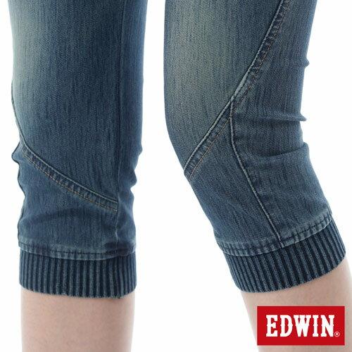 【5折優惠↘】EDWIN JERSEYS 迦績3D束口七分牛仔褲-女-石洗藍 5