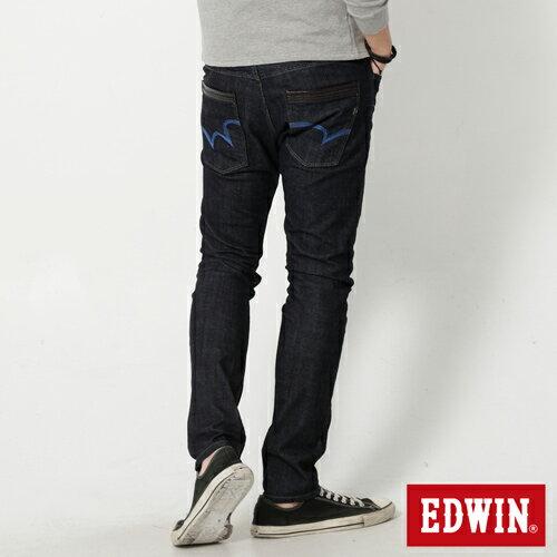 【9折優惠↘】EDWIN EDEG 雙口袋 窄直筒牛仔褲 (靛藍袋花) -男-原藍 1