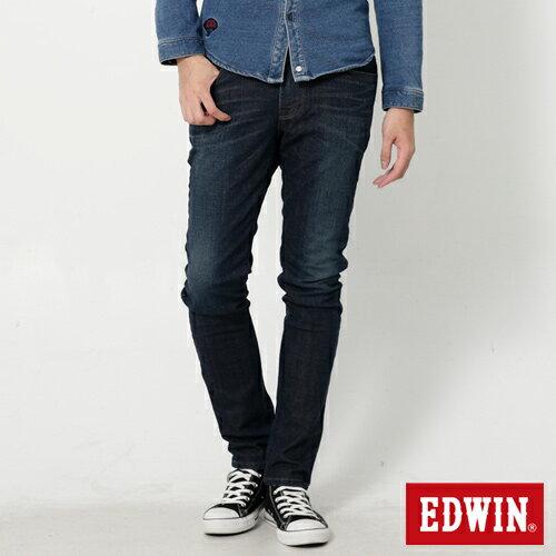 【換季最終波。任2件再9折優惠↘】EDWIN EDEG 雙口袋 窄直筒牛仔褲 (靛藍袋花) -男-石洗綠 0