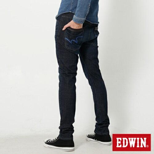 【換季最終波。任2件再9折優惠↘】EDWIN EDEG 雙口袋 窄直筒牛仔褲 (靛藍袋花) -男-石洗綠 1