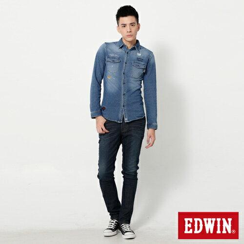 【換季最終波。任2件再9折優惠↘】EDWIN EDEG 雙口袋 窄直筒牛仔褲 (靛藍袋花) -男-石洗綠 2