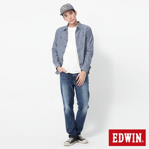 EDWIN JERSEYS 迦績 大尺碼 圓織AB牛仔褲-男款 石洗綠 TAPERED 2