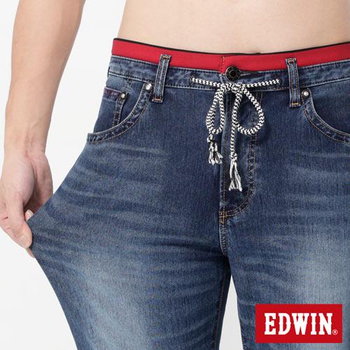 EDWIN JERSEYS 迦績 大尺碼 圓織AB牛仔褲-男款 石洗綠 TAPERED 3