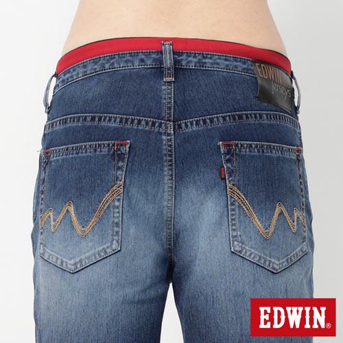 EDWIN JERSEYS 迦績 大尺碼 圓織AB牛仔褲-男款 石洗綠 TAPERED 4