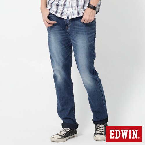 EDWIN JERSEYS 迦績 大尺碼 圓織AB牛仔褲-男款 石洗綠 TAPERED 0