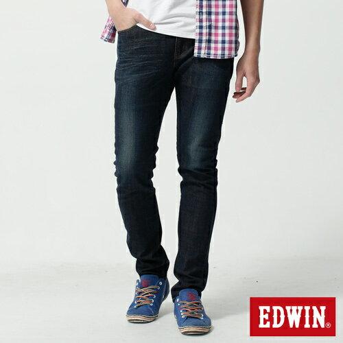 【新品上市↘】【大尺碼】EDWIN EDGE LINE 假袋蓋合身窄管牛仔褲-男款 原藍磨【下單輸入限量代碼2K22030-1折220元↘序號限用一次↘】