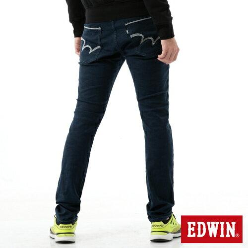 【換季最終波。任2件再9折優惠↘】【大尺碼】EDWIN EDGE迷彩提織後染窄直筒褲-男-丈青 0